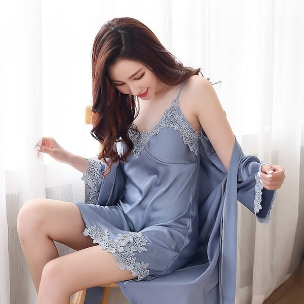 Loose Silk Night Gown and Robe for Women Lace Satin Robe and Spaghetti Strap Nighties Dress Mini Nighty Set 2 Pieces