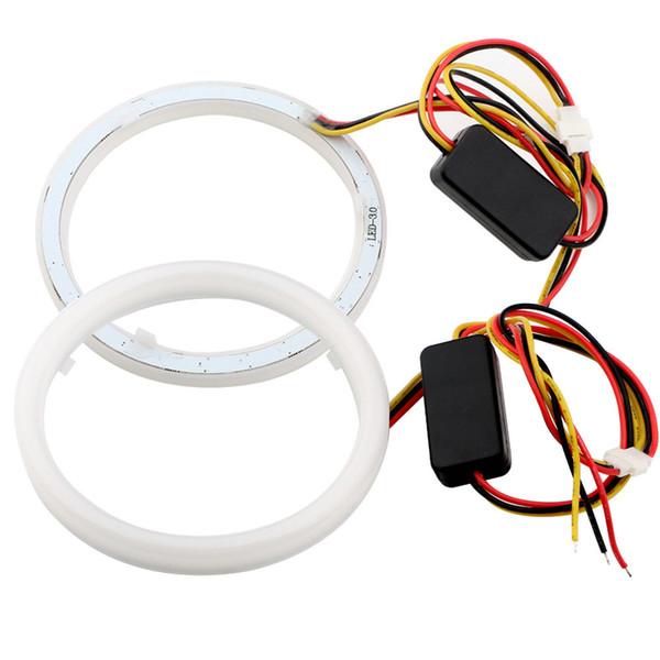 2PCS Car Styling Auto Halo Rings Angel Eyes 60mm 70mm 80mm 90mm 95mm 100mm 110mm 120mm Cotton Lights 12V Headlight 4014 SMD White+Yellow