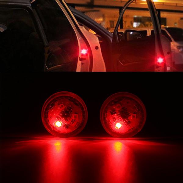 2pcs Wireless Car Door LED Warning Light Red Strobe Flashing LED Door Open Safety Flicker Anti Rear-end Collision