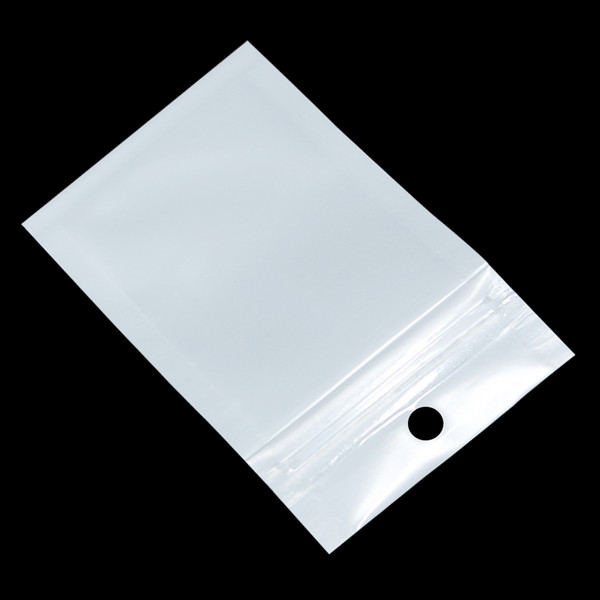Small White / Clear Zip Lock Plastic Package Bags with Zipper Self Seal Transparent Ziplock Poly Packaging Bag Hang Hole
