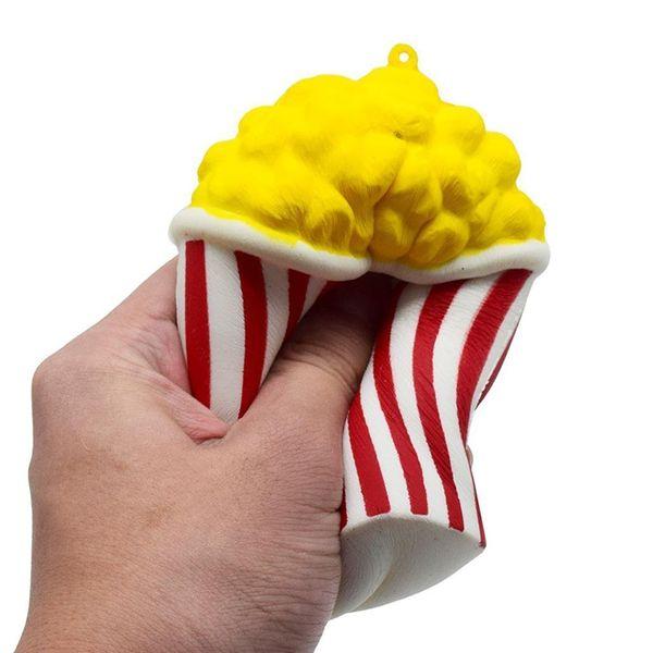 best selling Kawaii Squishy Jumbo Pop Corn Slow Rising Phone Straps Charms Cream Scented Pendant Food Cake Bread Kid Toy Fun Gift