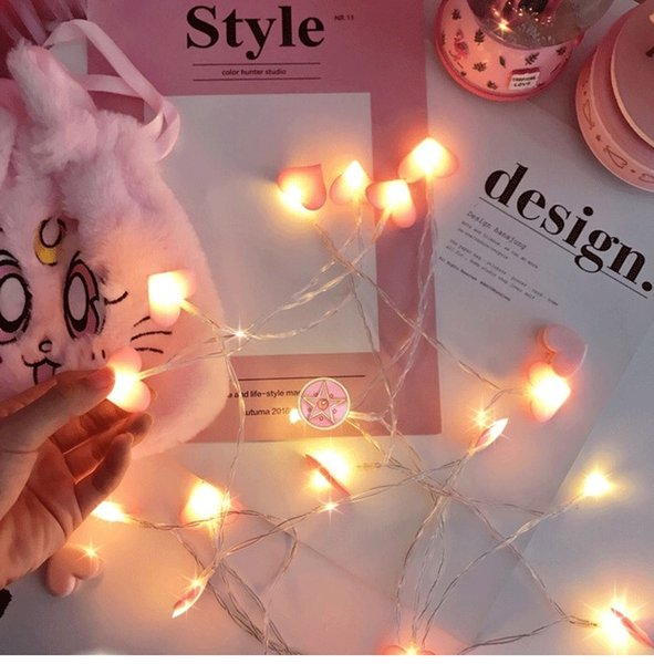 LED Lights Cloth Art Strings Heart Shape Light Decorative Chain Holiday Lighting The Material Is Cloth INS Network Red Light