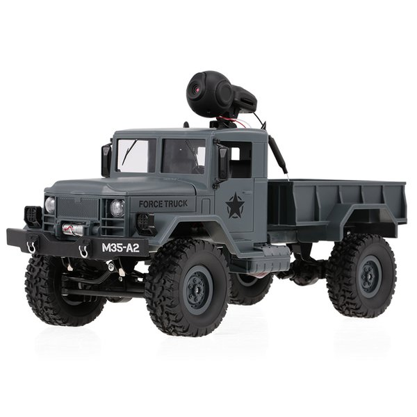 FY001A WiFi Truck 2.4Ghz 1/16 4WD Off-road RC Truck with Front Light WiFi FPV 0.3MP Camera Brushed Military Truck RTR
