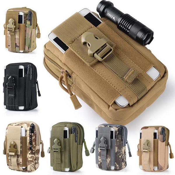top popular Outdoor Camping Hiking Bags Tactical Molle Backpacks Molle Pouch Belt Loops Waist Bag Phone Case for iPhone Smartphone 2021