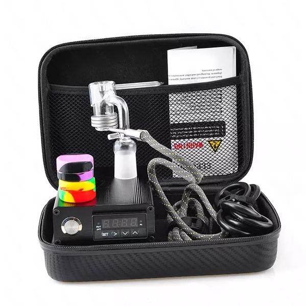 Cheap Portable Bag Electric Dab Nail Pen Rig Wax PID TC Box With Ti Titanium Domeless Coil Heater Quartz ENail kit silicone pad