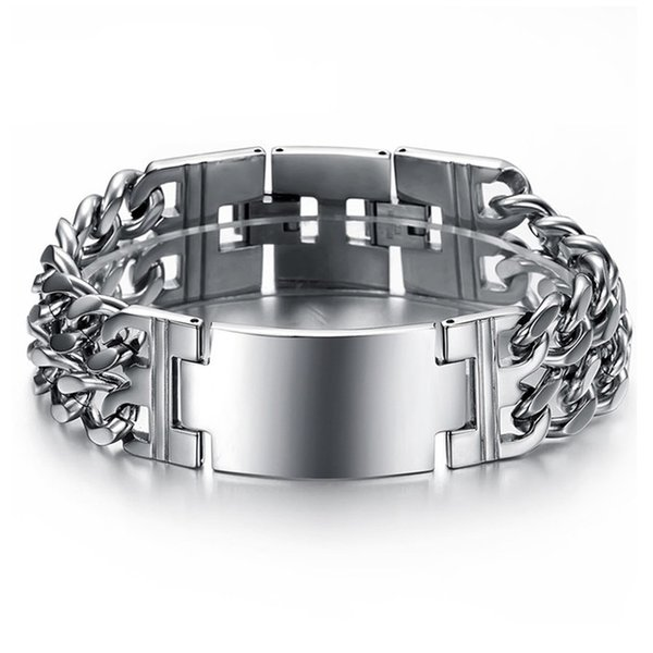 Punk Jesus Cross Bracelets Stainless Steel Bracelets Men Jewelry Male Charm Bangle Double Hand Chain Man Wristband