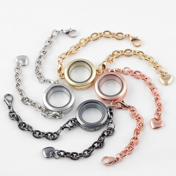 Floating Locket Bracelet Stainless Steel Chains Living Memory Round Glass Photo Frame Floating Locket Charm Bracelets Jewelry Gifts
