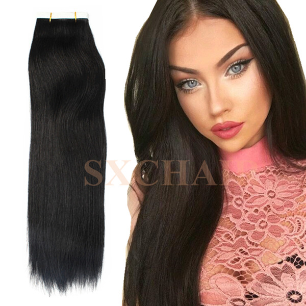Seamless Remy Tape in Hair Extensions Real Human Hair 16''40pcs 2g piece Straight Medium Light Auburn Tape on Skin Weft Hair