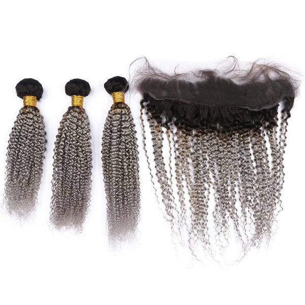 Virgin Peruvian Ombre Silver Grey Human Hair Wefts Kinky Curly 3 Bundles with Full Lace Frontal Closure #1B/Grey Ombre Weave Bundles