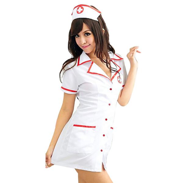 Sexy Krankenschwester Kostüm Set 2018 Frauen Sexy Lingerie Hot White Krankenschwester Uniform Cosplay für Frauen Erotische Kostüm Tempt V-Ausschnitt Kleid 50 Y1892810