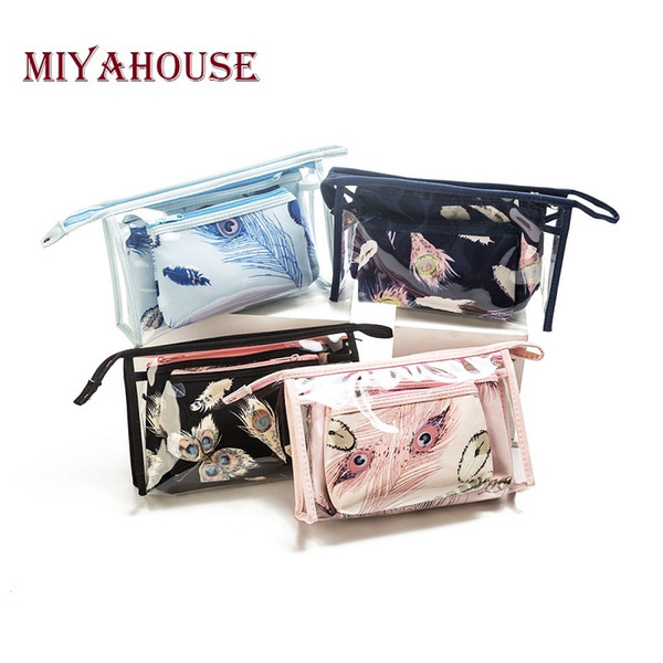 Miyahouse Feather Print Cosmetic Bags 3pcs/set Women Make Up Bag Travel Toiletry Bags Female Waterproof Transparent Makeup Pouch