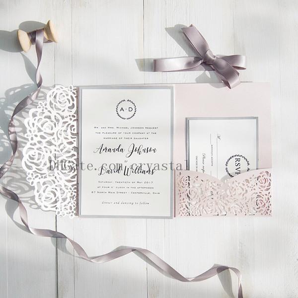 2018 Blush Pink and Grey Laser Cut Pocket Invitaciones de boda, personalizables con sobre, envío gratuito por UPS