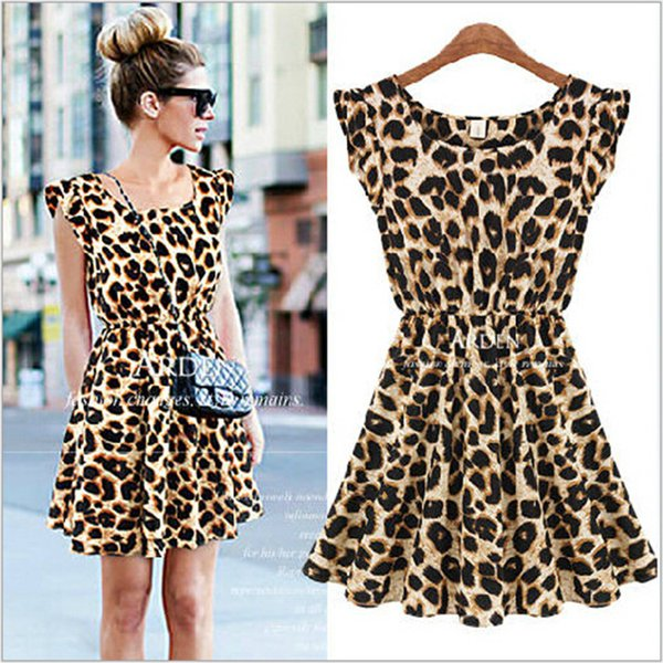 2018 new women ruffles leopard print casual party tunic one piece novelty skater swing mini dress fashion sundress