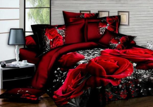 Ensemble de literie Rose Rose Ensemble housse de couette romantique drap de lit taie d'oreiller Literie 3 pcs Housse de couette Queen King