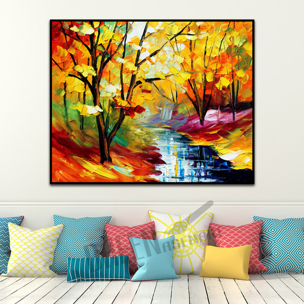 2019 Modern Attractive Knife Oil Painting On Canvas Handmade Attractive Stream Rivulet Lake Wall Artpicture For Living Room Bedroom Wall Decor From