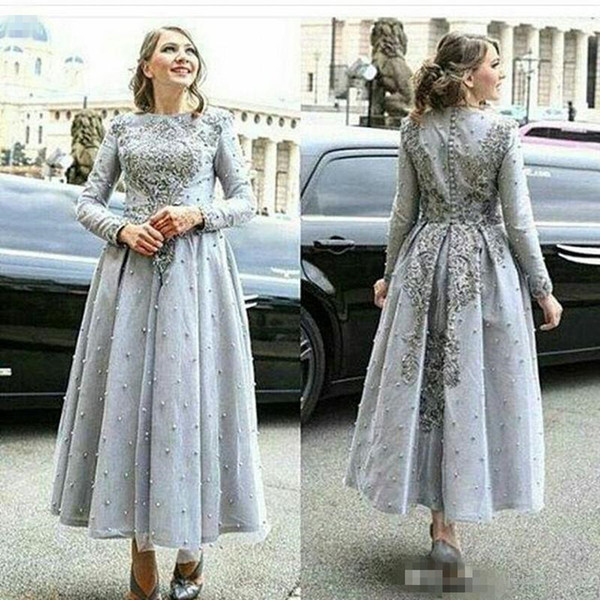 2018 New Arabia Long Evening Dresses silver Lace Appliqued Long sleeves with Exquisite Embroidery Dubai Party prom Dresses Middle East