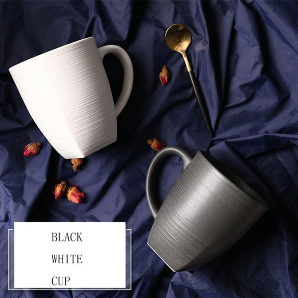 400ML Modern Black and White Ceramic Lovers Milk Cup Latte Coffee Matt Mugs with Gold Plated Spoon Kit Valentine 's Day Gift Set
