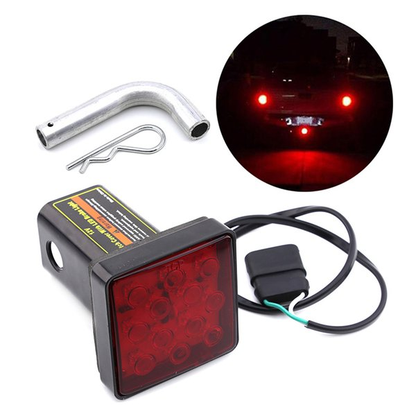 12 LED Car Taillight Red Stop Brake Light for 12V Trailer Truck Towing Pickup with Hitch Receiver Cover