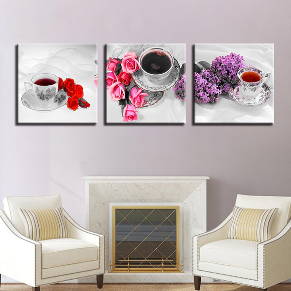 Canvas Painting Home Decor HD Prints Poster 3 Pieces Flower And Scented Tea Cup Pictures Kitchen & Restaurant Wall Art Framework