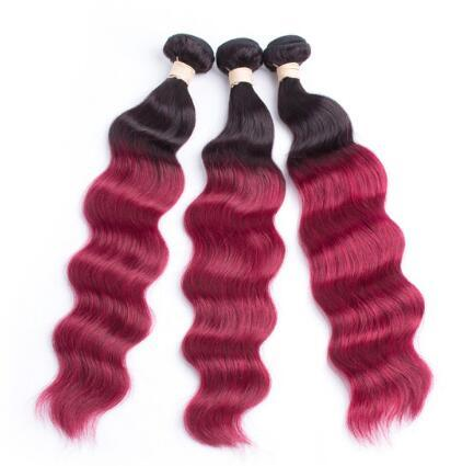 Oxette Burgundy 3or 4 Pcs body wave 100% Human Hair Weave Extension Dark Roots Ombre Wine Red Bundles