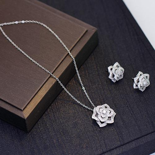 Sterling Silver P logo diamond rose necklace women Switzerland crystal earring woman luxury silver plated brand wedding necklaces