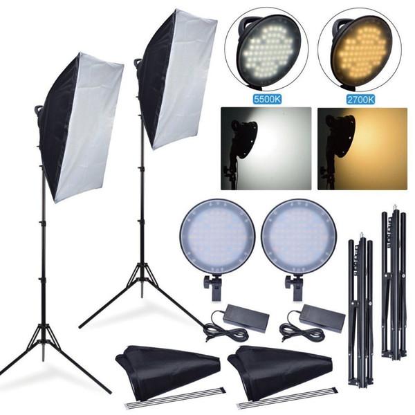 Toptan 45 W 2700 K 5500 K LED Dim Studio Fotoğraf Işık + Softbox + Fotoğraf Makinesi Telefon Video Aydınlatma için Standı Kiti