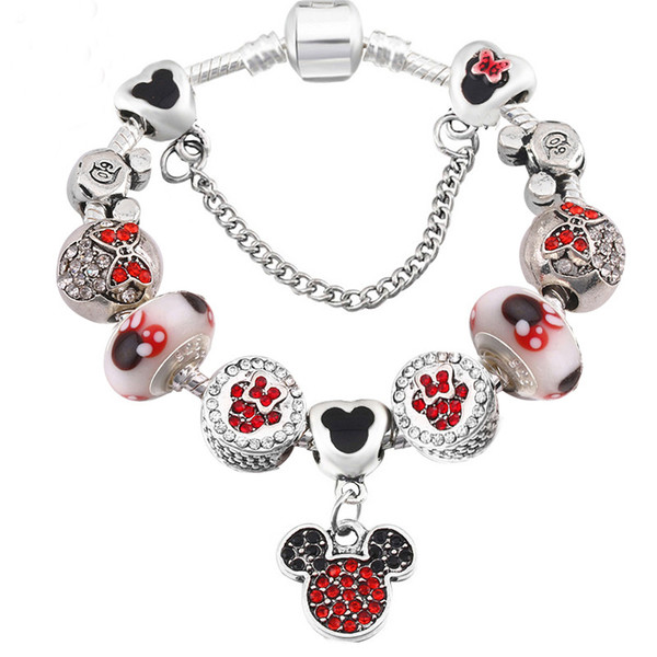 top popular Fashion Alloy Beads DIY Bracelet for Women's Pandora Style Cartoon Bead Bracelet Jewelry 2021