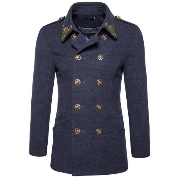 Mens hiver manteau de cachemire veste Sobretudo, plus la taille bouton long double manteau manteau hommes longue veste de laine d'hiver