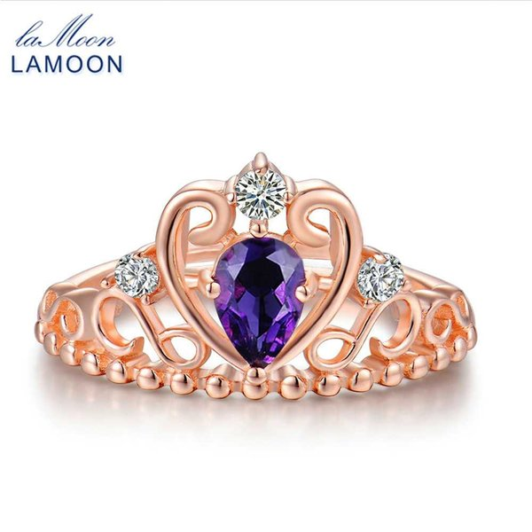 LAMOON Coroa Anéis Para As Mulheres Princesa Ametista Roxo 925 Sterling Silver Fine Jewelry Wedding Party Anel S925 Anel RI049