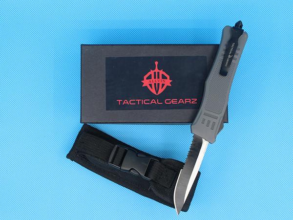 2018 New Grey 8.2 Inch Medium 616 Auto Tactical Knife 440C Single Edge Drop Point Half Serration Lama EDC coltelli tascabili