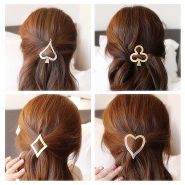 Women Fashion Headwear Hair Accessories Vintage Poker Design Hairpin Metal Hair Clip Girls Headdress Heart Plum Flower Hair Pins