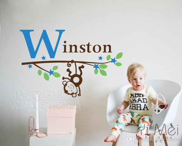 Personalized Customize Monkey Name Initial Blossom Tree Branch Wall Sticker Decal Wallpaper Boy Baby Room Stickers Name Decor