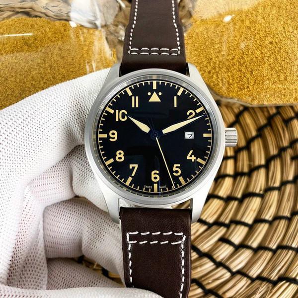 Lüks Saatler Pilot lM-XVIII IW327001 siyah dial otomatik makine Hakiki Deri Kayış Mens Watch marka Saatler Gent Kol AAA217
