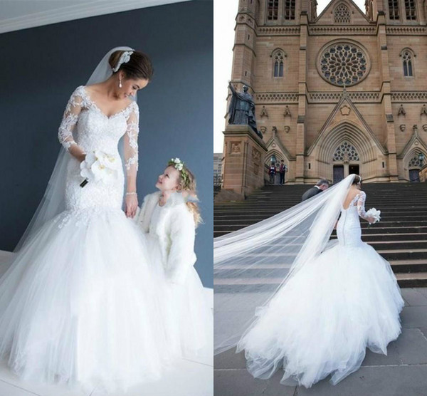 Elegant Church Princess White Lace Mermaid Wedding Dresses V Neck Backless Fishtail Train Fitted Country Bohemain Bridal Gown 2018 Sleeves