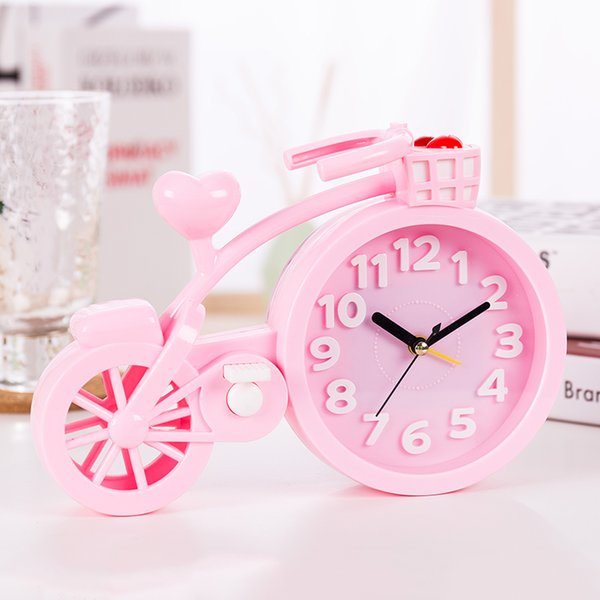 Lovely bicycle alarm clock cartoon clock creative personality student bedside alarm birthday gift table decoration