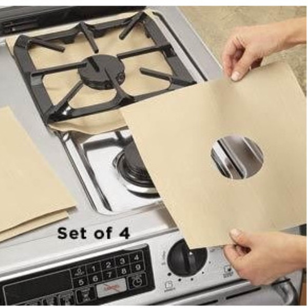 4pc/set Glass Fiber Gas Stove Protectors Reusable Gas Stove Burner Cover Liner Mat Pad Home Kitchen Cooking Tools Fit Stoves