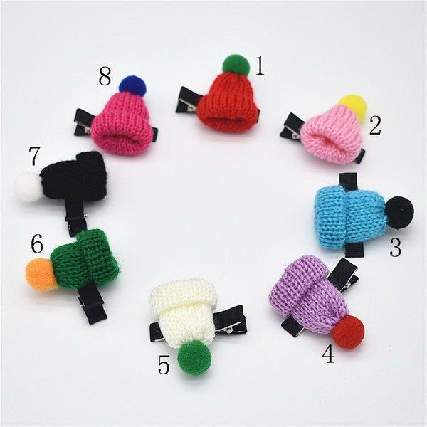 16pcs Version baby Girls Headwear Knitted Hat Hairpins Children Hair Accessories Christmas Cap Shaped Hair Clip FJ059