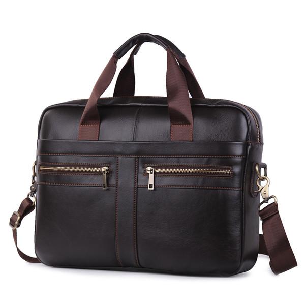 YICHENG Men's Fashion Genuine Leather briefcase business trip file package laptop bag messenger computer european for men