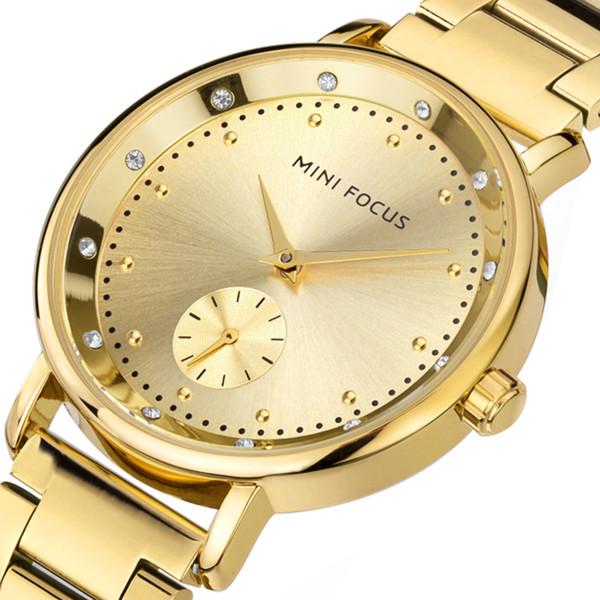 ... Femenino Montre Femme Relogio MF0037L. MINIFOCUS Moda Oro Reloj de Cuarzo  Mujeres Relojes Mujeres Niñas Marca Famosa Reloj de pulsera Reloj 613092037ef5