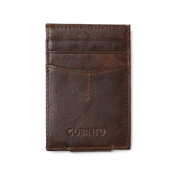 YISHEN Genuine Leather Men Money Clips Front Pocket Clamp For Money Holder Small Men Purse Clip Wallet ID Card Case 113#