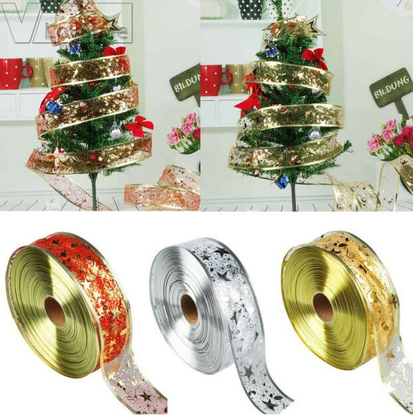 Organza Ribbon Christmas DIY Ribbons Christmas Tree Decorations for Home Festive Party Supplies Gold/Silver/Red GA542