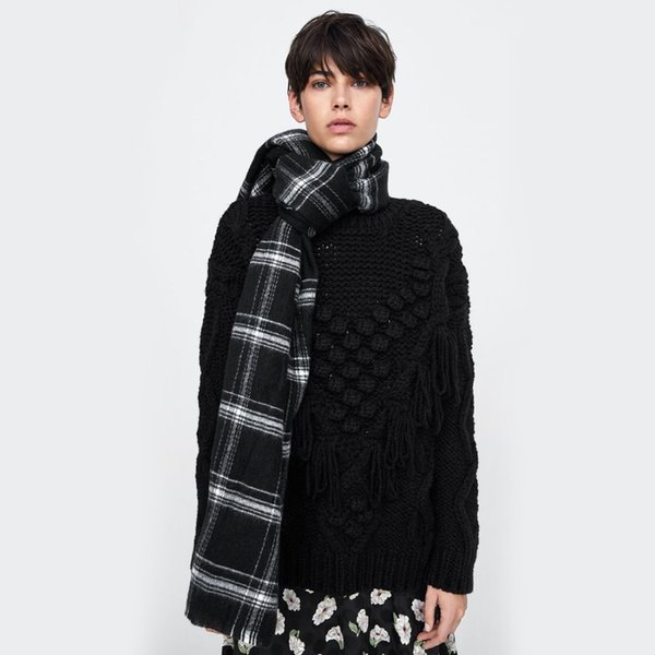 2018 new arrival imitated cashmere scarves women men black white check plaid acrylic blanket scarf winter thick warm shawl wraps