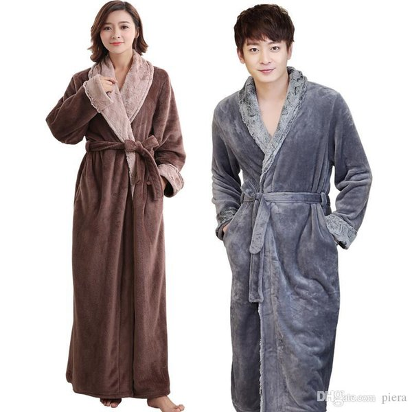 Lovers Soft fur Extra Long Thermal Bathrobe Men Plus Size Thick Flannel Warm Kimono Bath Robe Male Dressing Gown Winter Robes