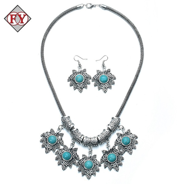 925 silver Vintage Tibetan Silver & Turquoise Necklace Bracelet Earrings Jewelry Sets for Women gift for women