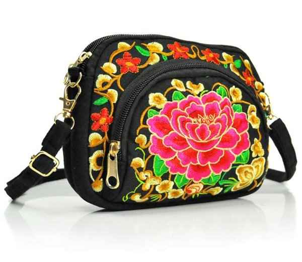 Women Shoulder Bag Clutch Handbag Tote Purse Hobo Messenger Double-sided embroidery canvas coin purse mobile phone bag