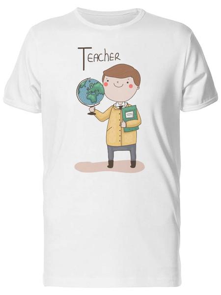 Cartoon Cute Teacher With Globe Tee Men's -Image by Shutterstock