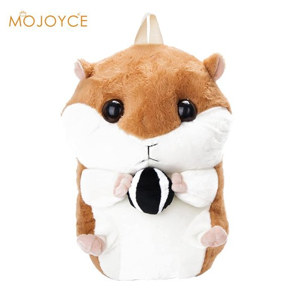 2017 New Cute Plush Hamster Backpacks Toy Schoolbag Good Quality Cartoon Kindergarten Kid Doll Animal Backpack For Teenage Girls