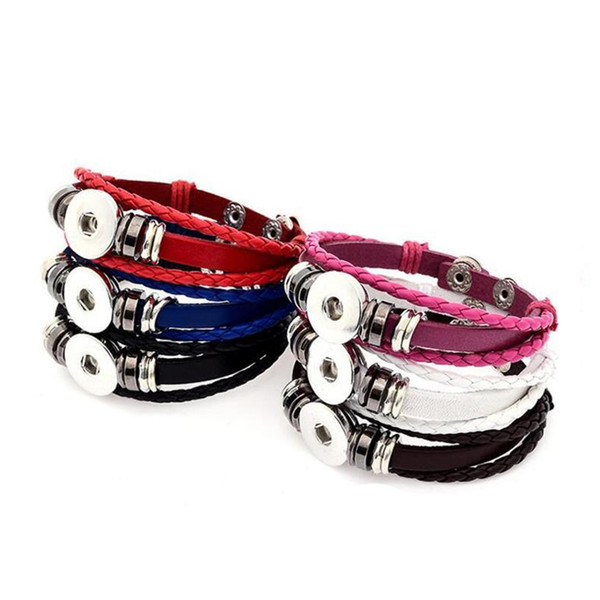 LMBB Brand Mix 6 colors 18MM & 20MM Real leather snap bracelet fit noosa chunks button charm free shipping