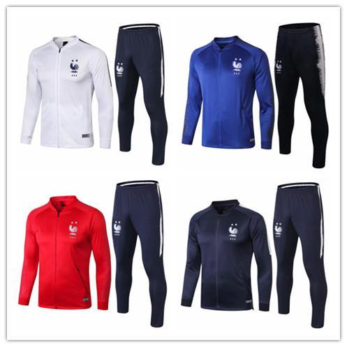 2018 2019 Fransız 2 yıldız kızarıklık eğitimi takım maillot de ayak Fransız milli futbol eğitimi giymek uzun kollu eşofman futbol ceket