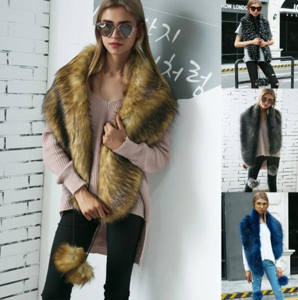 4 color Faux fox fur scarves with faux fur color warm collar fur collar scarf Ladies Long Wrap Scarves KKA5929